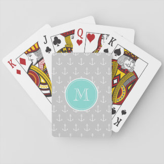 Gray White Anchors Pattern, Mint Monogram Playing Cards