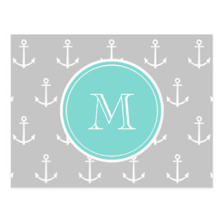 Gray White Anchors Pattern, Mint Monogram Postcard