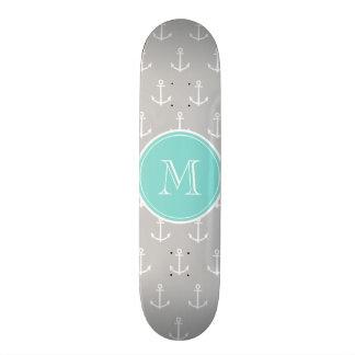Gray White Anchors Pattern, Mint Monogram Skate Deck