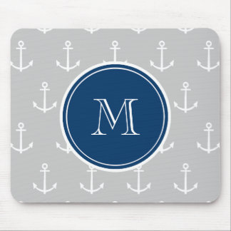 Gray White Anchors Pattern, Navy Blue Monogram Mouse Mat