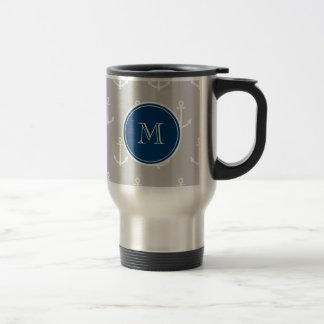 Gray White Anchors Pattern, Navy Blue Monogram Travel Mug