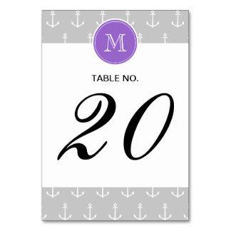Gray White Anchors Pattern, Purple Monogram Card