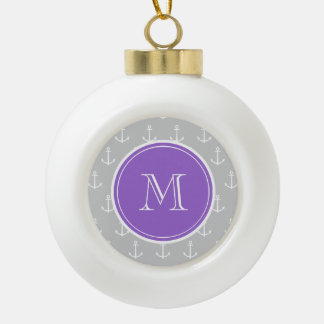 Gray White Anchors Pattern, Purple Monogram Ceramic Ball Christmas Ornament