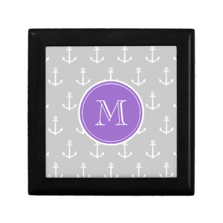 Gray White Anchors Pattern, Purple Monogram Gift Box