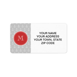 Gray White Anchors Pattern, Red Monogram Address Label