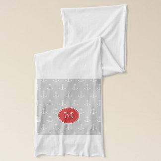 Gray White Anchors Pattern, Red Monogram Scarf