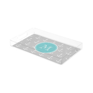 Gray White Anchors Pattern, Teal Monogram Acrylic Tray