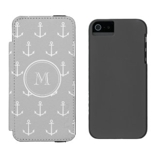 Gray White Anchors Pattern, Your Monogram Incipio Watson™ iPhone 5 Wallet Case