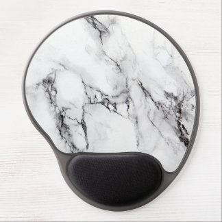 Gray White And Black Marble Stone Gel Mouse Mat