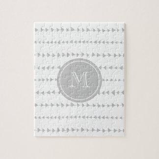 Gray White Aztec Arrows Monogram Jigsaw Puzzle