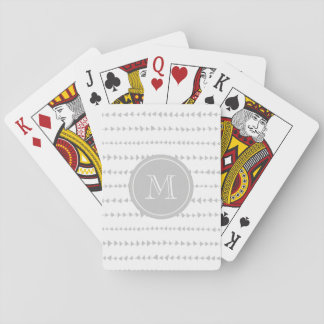 Gray White Aztec Arrows Monogram Playing Cards
