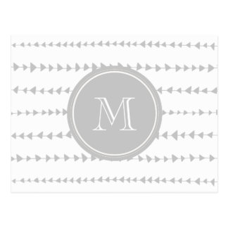Gray White Aztec Arrows Monogram Postcard