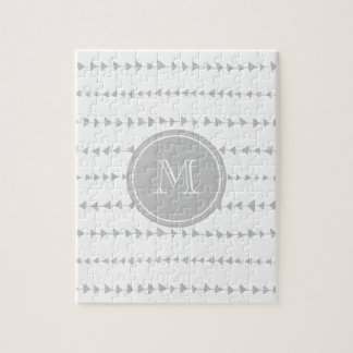 Gray White Aztec Arrows Monogram Puzzles