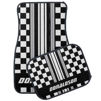 Gray, White & Black Checks & Stripes | Personalize Car Mat