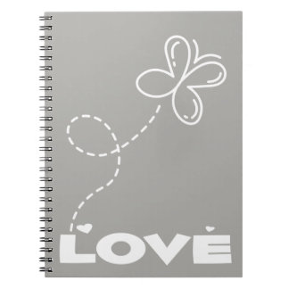 Gray & White Butterfly & Hearts Love - Wedding Notebook