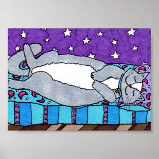 Gray & White Cat Dreaming Mini Folk Art Poster