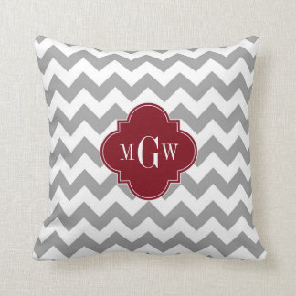 Gray White Chevron Burgundy Quatrefoil 3 Monogram Cushion