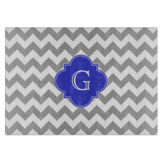 Gray White Chevron Cobalt Blue Quatrefoil Monogram Cutting Board