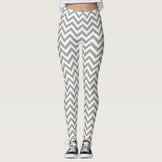 Gray White Chevron Leggings
