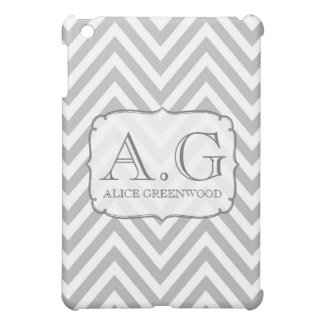 Gray White Chevron Monogram IPAD Mini Cover