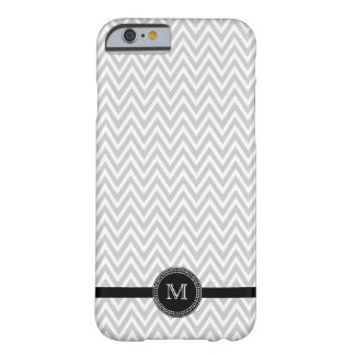 Gray white chevron monogram iPhone 6 case
