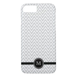 Gray white chevron monogram iPhone 7 case