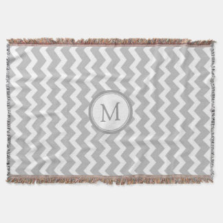 Gray White Chevron Pattern Monogram Throw Blanket