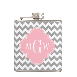 Gray White Chevron Pink Quatrefoil 3 Monogram Hip Flask