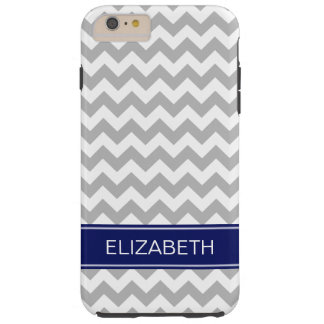 Gray White Chevron Zigzag 7P Navy Name Monogram Tough iPhone 6 Plus Case