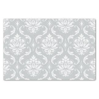 "Gray White Classic Damask Pattern 10"" X 15"" Tissue Paper"