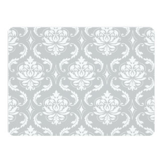 Gray White Classic Damask Pattern Announcement Cards