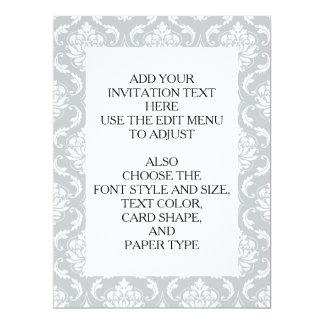 Gray White Classic Damask Pattern 17 Cm X 22 Cm Invitation Card