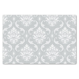 Gray White Classic Damask Pattern Tissue Paper