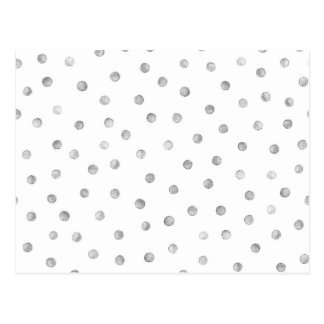 Gray White Confetti Dots Pattern Postcard