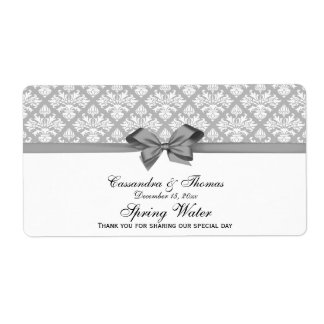 Gray, White Damask Water Label, Gray Bow Shipping Label