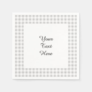 Gray White Gingham Pattern Disposable Serviettes