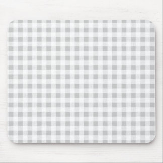 Gray White Gingham Pattern Mouse Mat