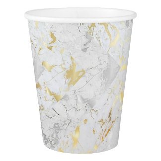 Gray White Gold Marble Abstract Glam Paper Cup