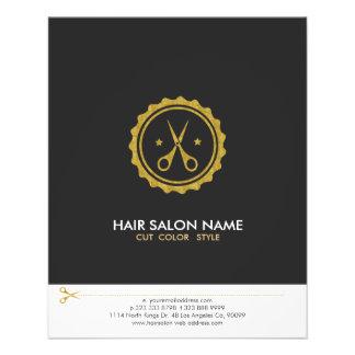 Gray White & Gold Scissors Hairstylist Logo Flyer
