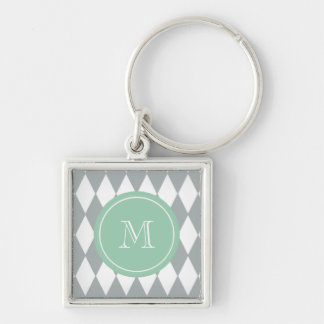 Gray White Harlequin Pattern, Mint Green Monogram Key Ring