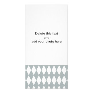 Gray White Harlequin Pattern Picture Card