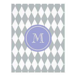Gray White Harlequin Pattern, Violet Monogram Full Color Flyer
