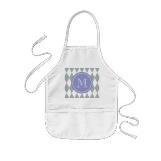 Gray White Harlequin Pattern, Violet Monogram Kids Apron