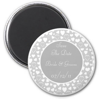 Gray White Hearts Design Save The Date Wedding Magnet