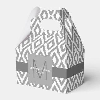 Gray & White Ikat Pattern Monogram Wedding Favour Box