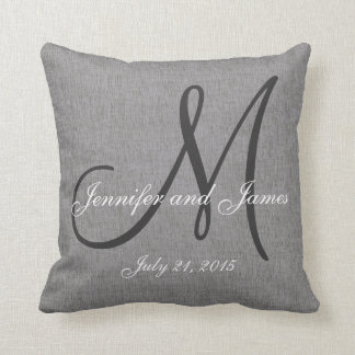 Gray White Linen Monogram Wedding Keepsake Cushion