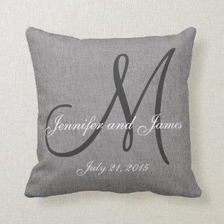 Gray White Linen Monogram Wedding Keepsake Throw Pillow
