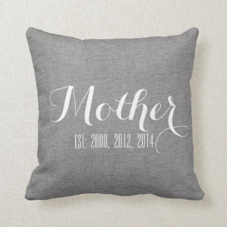 Gray White Linen Personalized Mother's Day Gift Cushion
