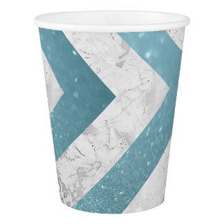 Gray White Marble Aquatic Blue Glitter Gold Paper Cup