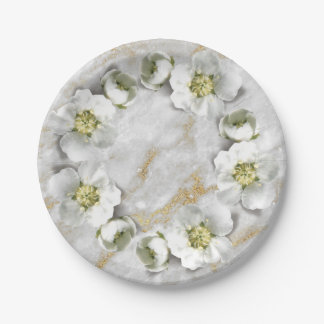 Gray White Marble Gold Stone  Real Floral Wreath Paper Plate